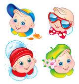 Niños en invierno, primavera, verano y otoño ropa — Vector de stock