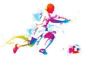 Voetbalspeler schoppen de bal — Stockvector