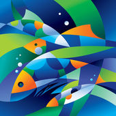 Abstract fishes in the depths of the ocean — Vector de stock
