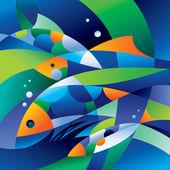 Resumen los peces en las profundidades del océano — Vector de stock
