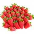 A lot of sweet and juicy strawberries isolated on white backgrou — Стоковая фотография