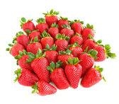 A lot of sweet and juicy strawberries isolated on white backgrou — Stock Photo