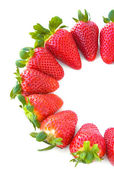 Sweet and juicy strawberries isolated on white background. — Stock Photo