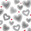 Background of hearts. Hand drawn illustration, vector. — Stock Vector