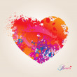 Heart with spots and sprays on a beige background. Vector illust — Image vectorielle