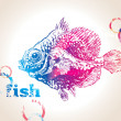 The colorful fish with bubbles on a beige background — Imagen vectorial