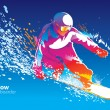 Wektor stockowy : Colorful figure of young msnowboarding on blue sky ba