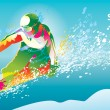 The colorful figure of a young man snowboarding on a blue sky ba — Stockvektor