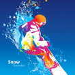 Постер, плакат: The colorful figure of a young man snowboarding on a blue sky ba