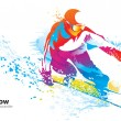 Постер, плакат: The colorful figure of a young man snowboarding with drops and s