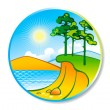 Summer landscape in a circle — Imagen vectorial