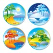 Spring, summer, autumn and winter landscape in a circle - Stock Vector