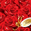 Background from red roses in dewdrops with golden ribbon and pap — Stockvectorbeeld