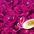 Background from violet roses in dewdrops with pink ribbon and pa — Imagen vectorial