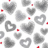 Fundo dos corações. ilustração de mão desenhada, vector. — Vetorial Stock