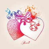 Valentine karta se dvěma srdce, luk a stuhy na béžové pozadí — Stock vektor