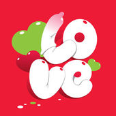 Valentine card with lettering LOVE. For themes like love, valent — Stock Vector