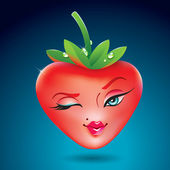 Cute strawberry girl in the form of heart. Icon for themes like — Stok Vektör
