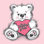 Hand drawn teddy bear with a heart in paws on a pink background. — Stock Vector