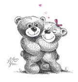 Couple of hugging teddy bears with small hearts. Hand drawn illu — Vettoriale Stock