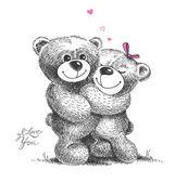 Par de abrazos de osos de peluche con pequeños corazones. illu dibujado a mano — Vector de stock