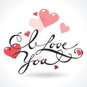 Valentine card with lettering I Love You. Vector illustration. — Stock Vector