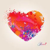 Corazón con manchas y aerosoles sobre fondo beige. vector ilust — Vector de stock