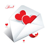 White envelope with two hearts. Icon for themes like love, Valen — Stock Vector