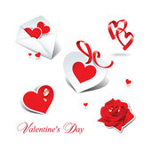 Set of romantic icons and stickers for themes like love, Valenti — Stock vektor