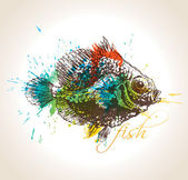 The vintage fish with colorful drops and sprays on a beige backg — Stock Vector