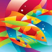 抽象多彩的鱼类附近的珊瑚礁 — 图库矢量图片