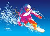 La figura de un hombre joven snowboard en una licenciatura de cielo azul colorida — Vector de stock