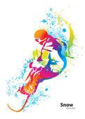 De kleurrijke figuur van een jonge man snowboarden met druppels en s — Stockvector