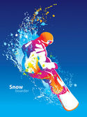 The colorful figure of a young man snowboarding on a blue sky ba — Stock vektor