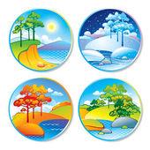 Lente, zomer, herfst en winter landschap in een cirkel — Stockvector