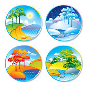 Spring, summer, autumn and winter landscape in a circle — Stok Vektör