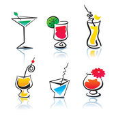 Set of the different cocktails — Stock Vector