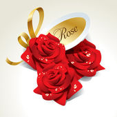 Three red roses in dewdrops with golden ribbon and paper sticker — Cтоковый вектор