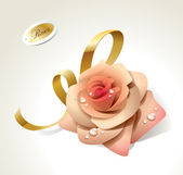 Pink rose in dewdrops with golden ribbon. — Stock Vector