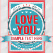 Vintage Valentine card. Vector illustration. - Imagen vectorial