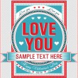 Vintage Valentine card. Vector illustration. - Stock vektor