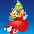 Christmas card with Santa and lots of gifts in a colorful packag - Imagen vectorial