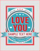 ビンテージ バレンタイン カード。ベクトル イラスト. — ストックベクタ
