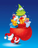 Christmas card with Santa and lots of gifts in a colorful packag — Stok Vektör