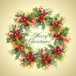 Stock Photo: Christmas holly wreath