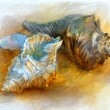 Seashells watercolor - Stock Photo