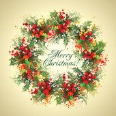 Christmas holly wreath — Stock Photo