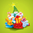 Funny Christmas tree with lots of gifts on a green background. V — Stock Vector