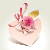 Wedding card in the form of heart with rose and pink ribbon. — Stock Vector