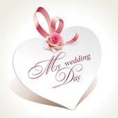 Bruiloft kaart in de vorm van hart met roze en roze lint. — Stockvector